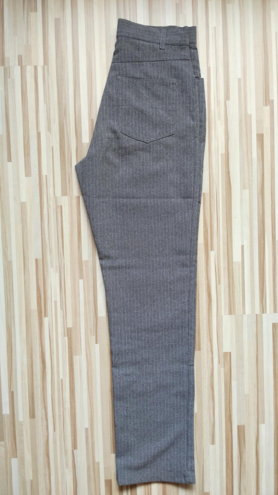 Šedé elegantné nohavice s pásikmi 36/S - Obrázok č. 3