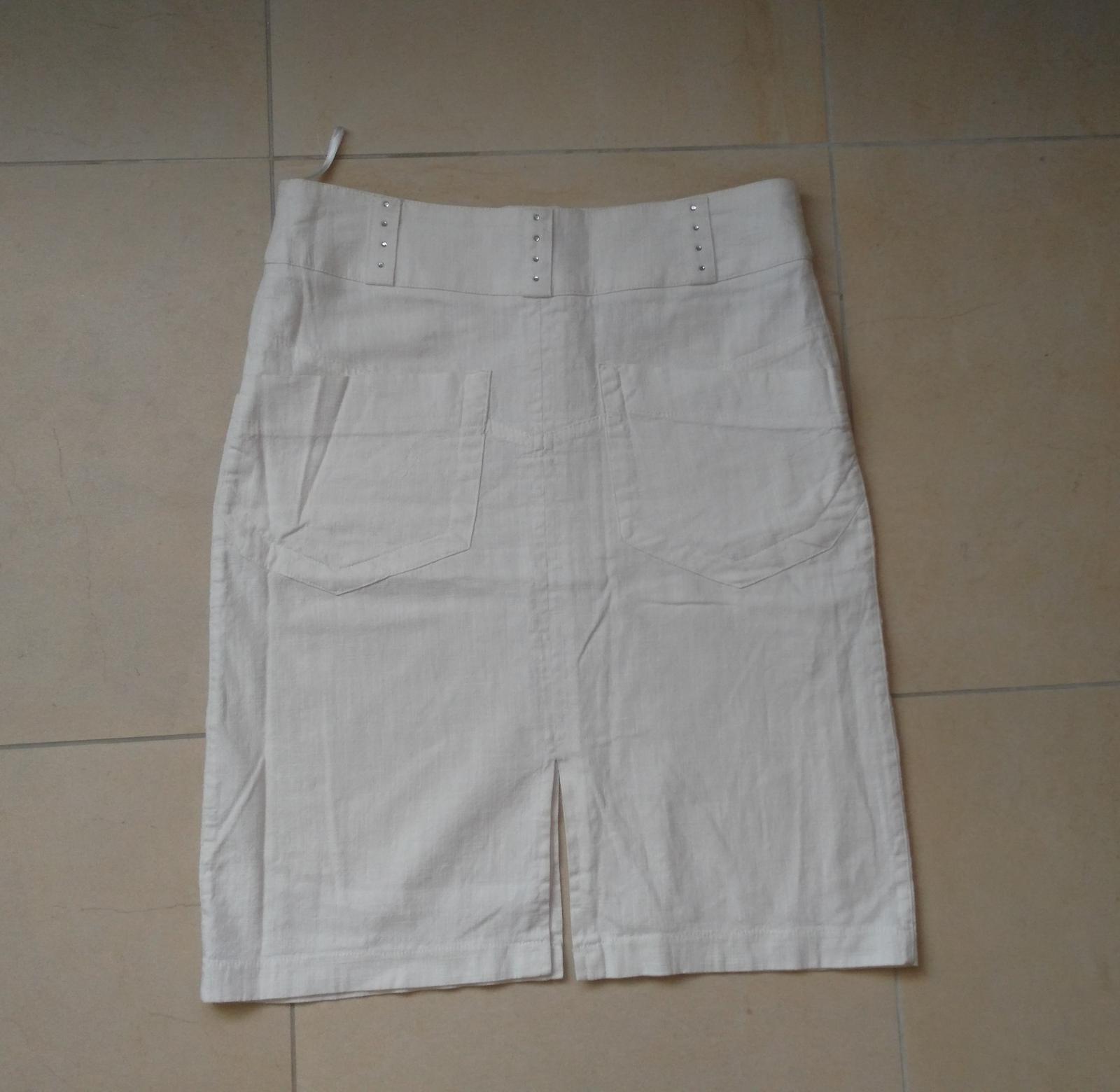 Biela ľanová sukna 36/S - Obrázok č. 3
