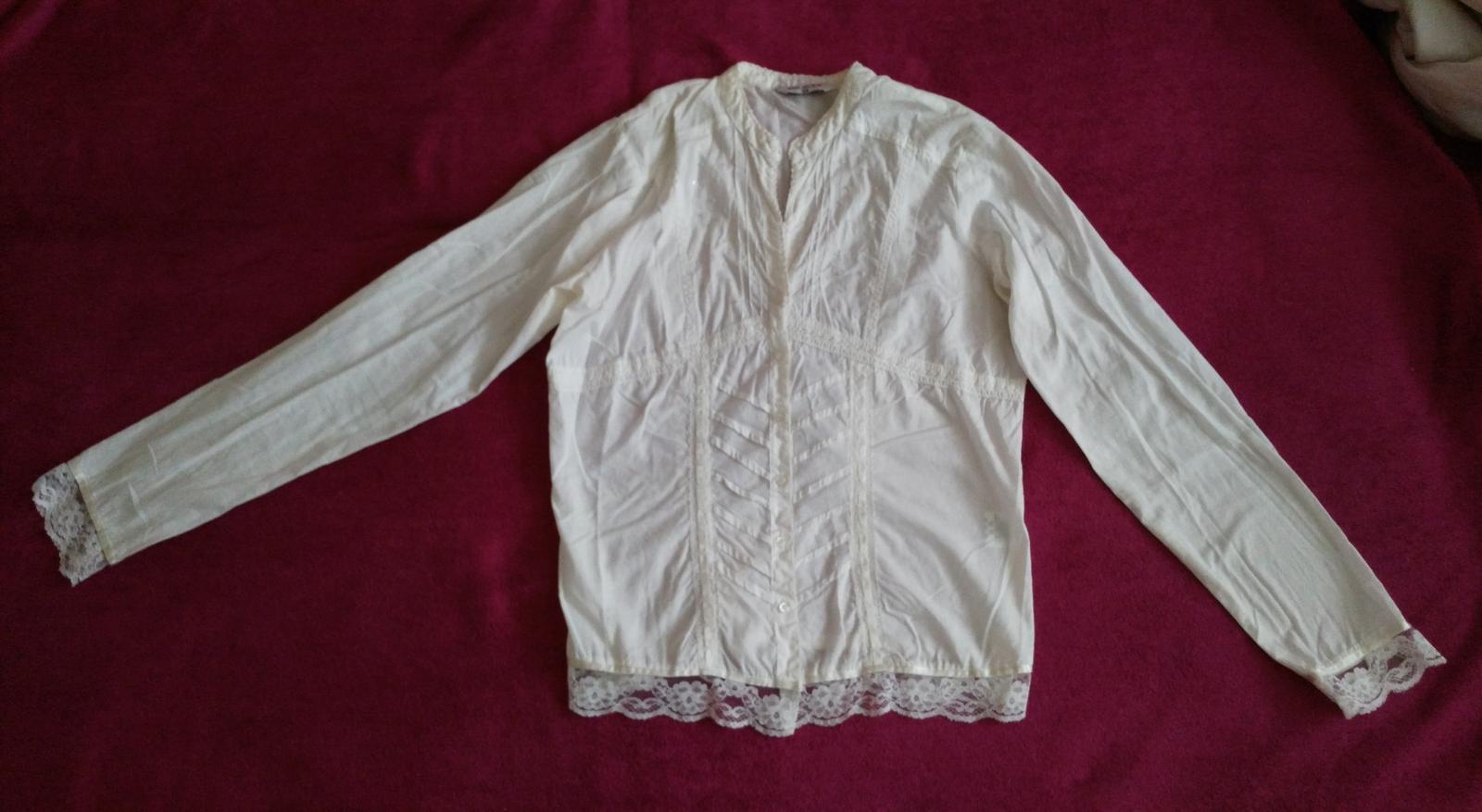 Biela blúzka s čipkou 40/L - Obrázok č. 1