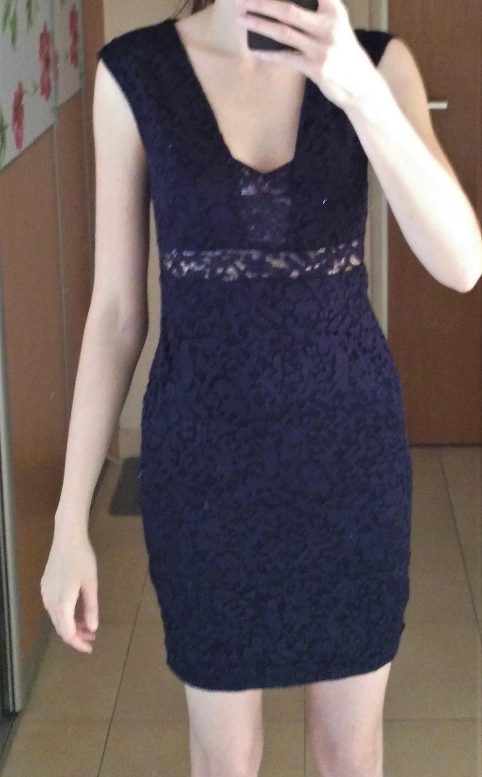 Tmavomodré sexi čipkované šaty 36/S-38/M - Obrázok č. 1