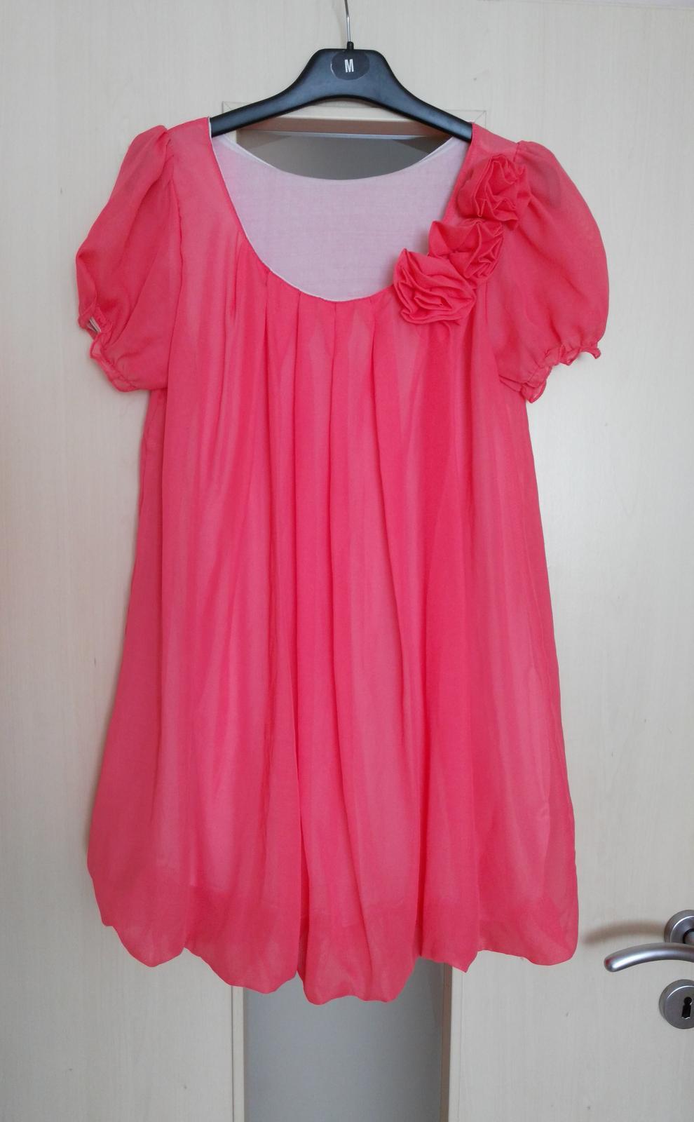 Lososové šifónové šaty 36-38 (S-M) - Obrázok č. 1