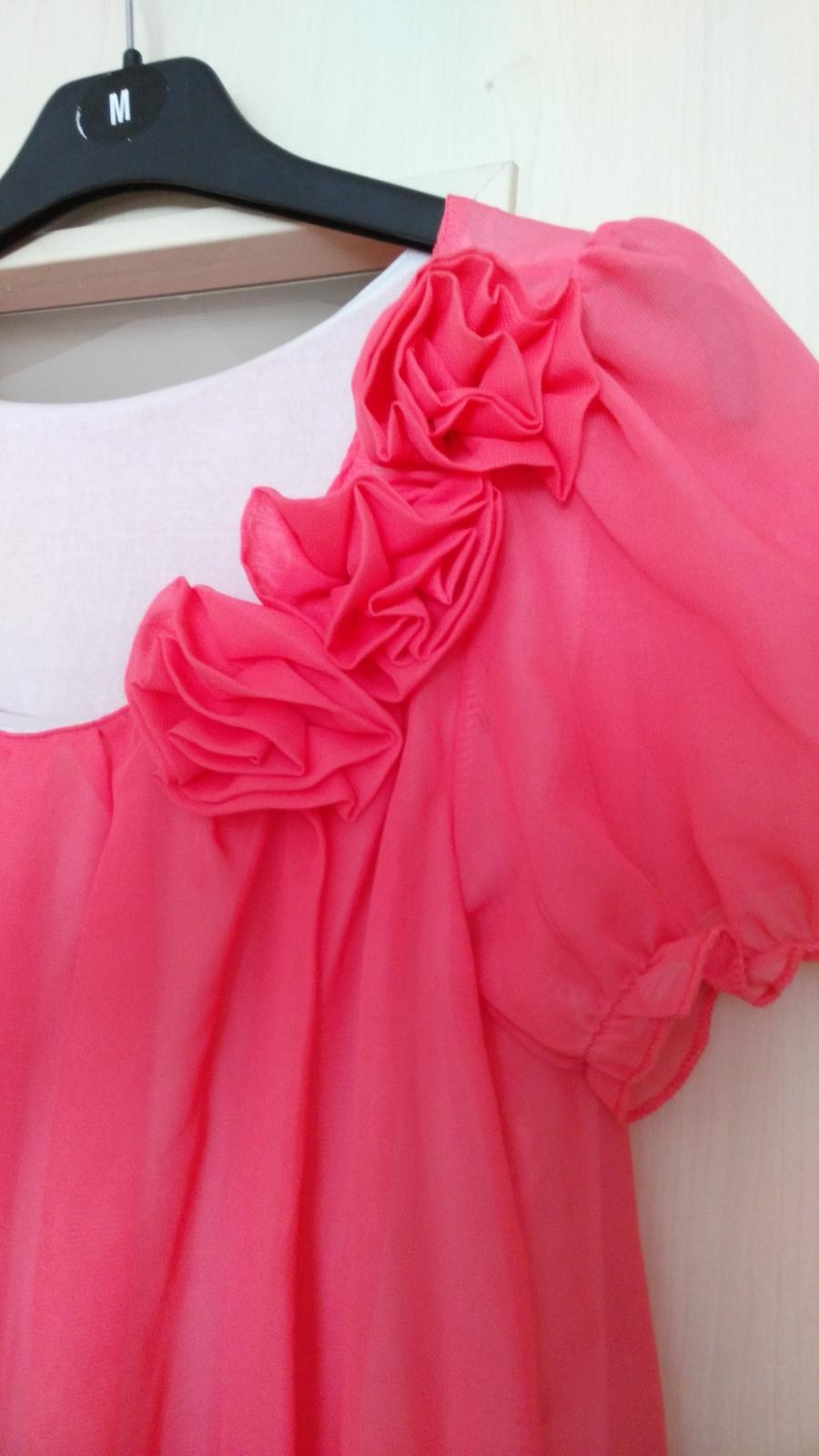 Lososové šifónové šaty 36-38 (S-M) - Obrázok č. 2