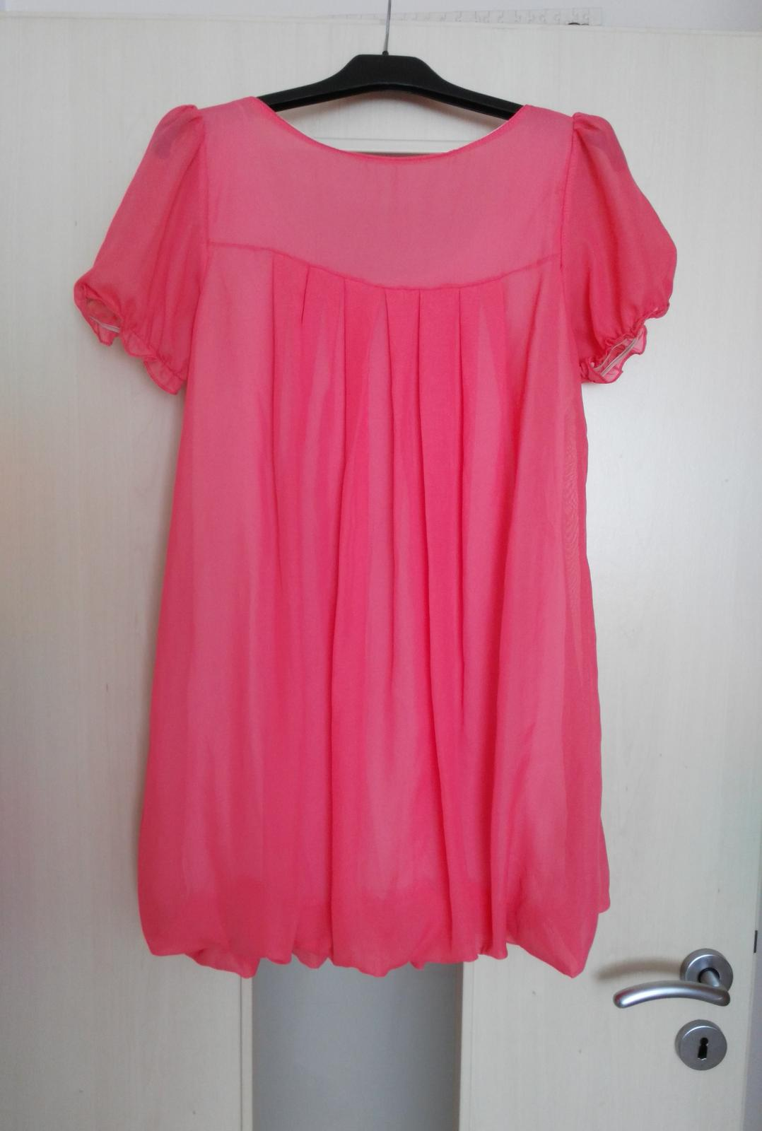 Lososové šifónové šaty 36-38 (S-M) - Obrázok č. 4