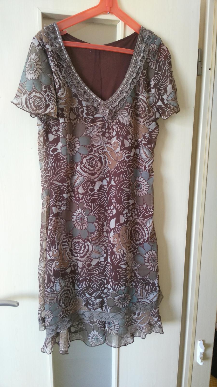 Hnedé kvietkované šaty 38/M - Obrázok č. 1