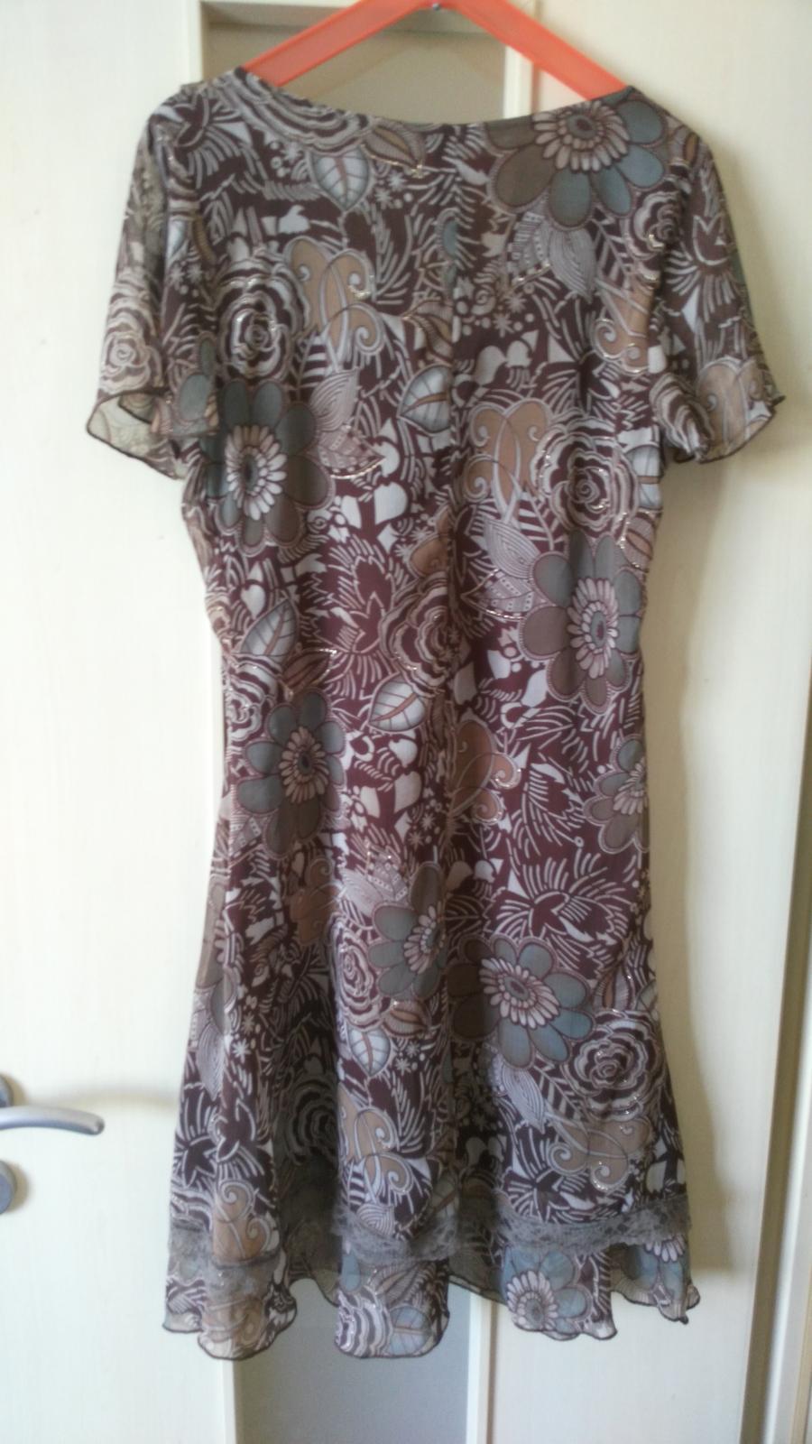 Hnedé kvietkované šaty 38/M - Obrázok č. 2