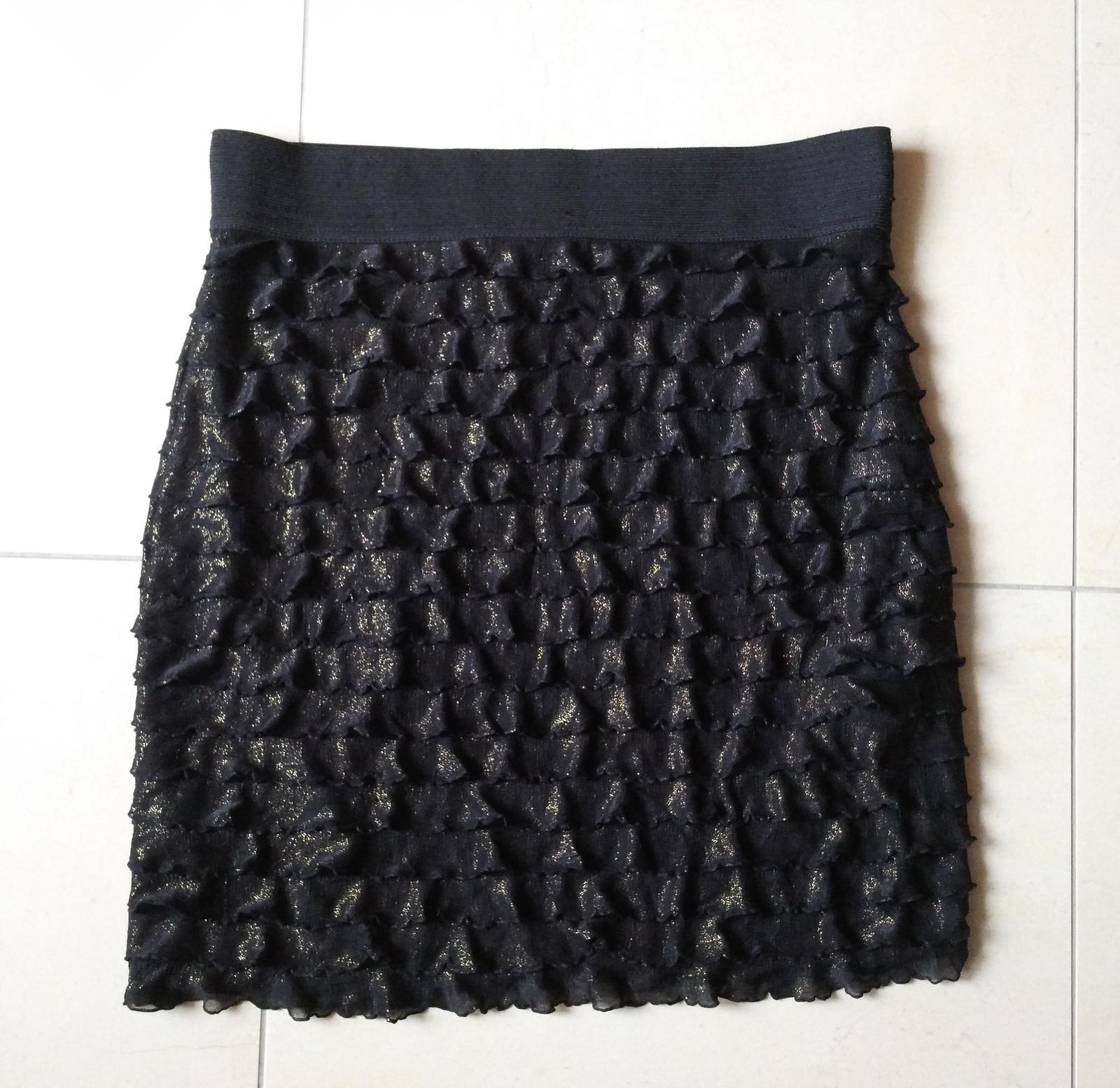 Čierno-zlatá sukňa s volánikmi 38/M - Obrázok č. 1