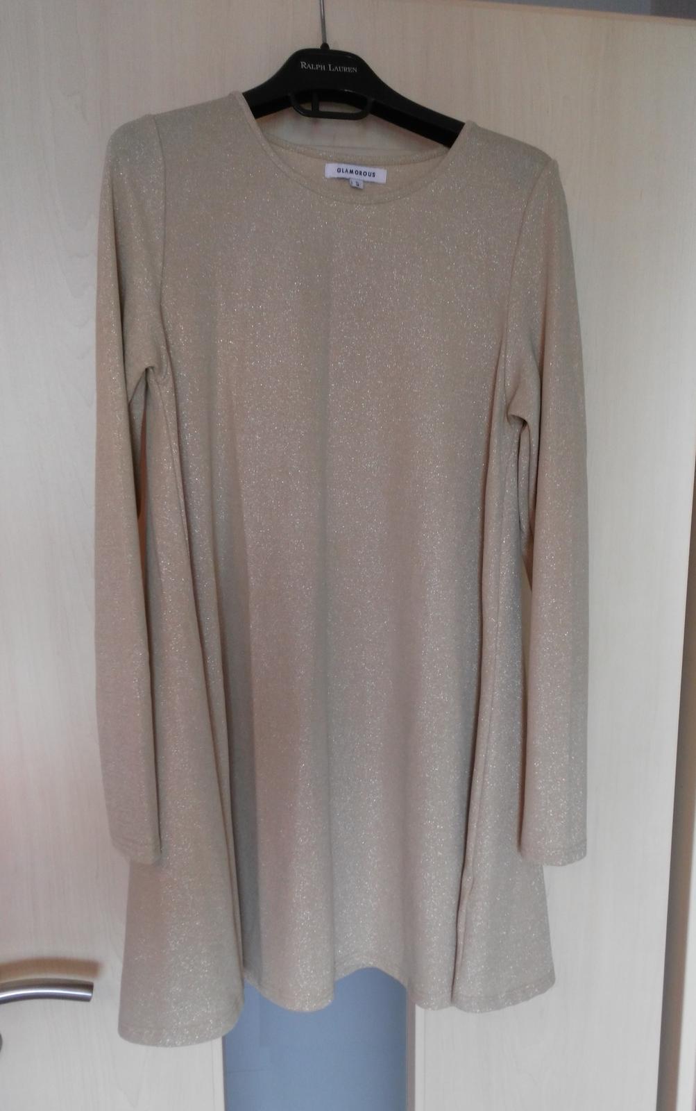 Béžovo-strieborné šaty 36/S - Obrázok č. 1