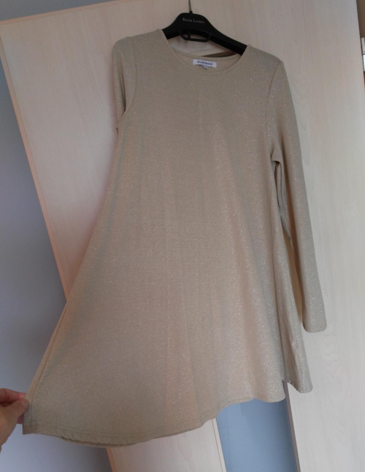 Béžovo-strieborné šaty 36/S - Obrázok č. 2