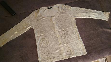 Béžovo-zlatý sveter 38-40 (M-L) - Obrázok č. 1