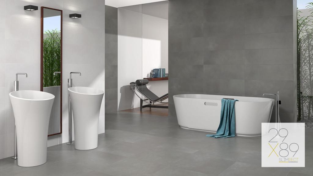 Luxusné obklady a dlažby zo Španielska - porcelánové super tenké , moderné obklady do kúpelne SLIMRECT od Azulev