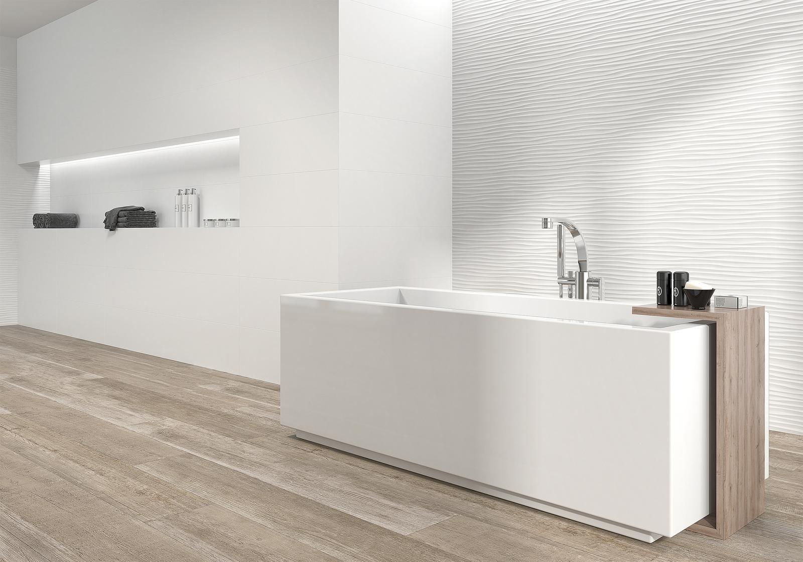 Moderné kúpeľne - moderná kúpeľňa s imitáciou dreva Luminor Blanco 29x89