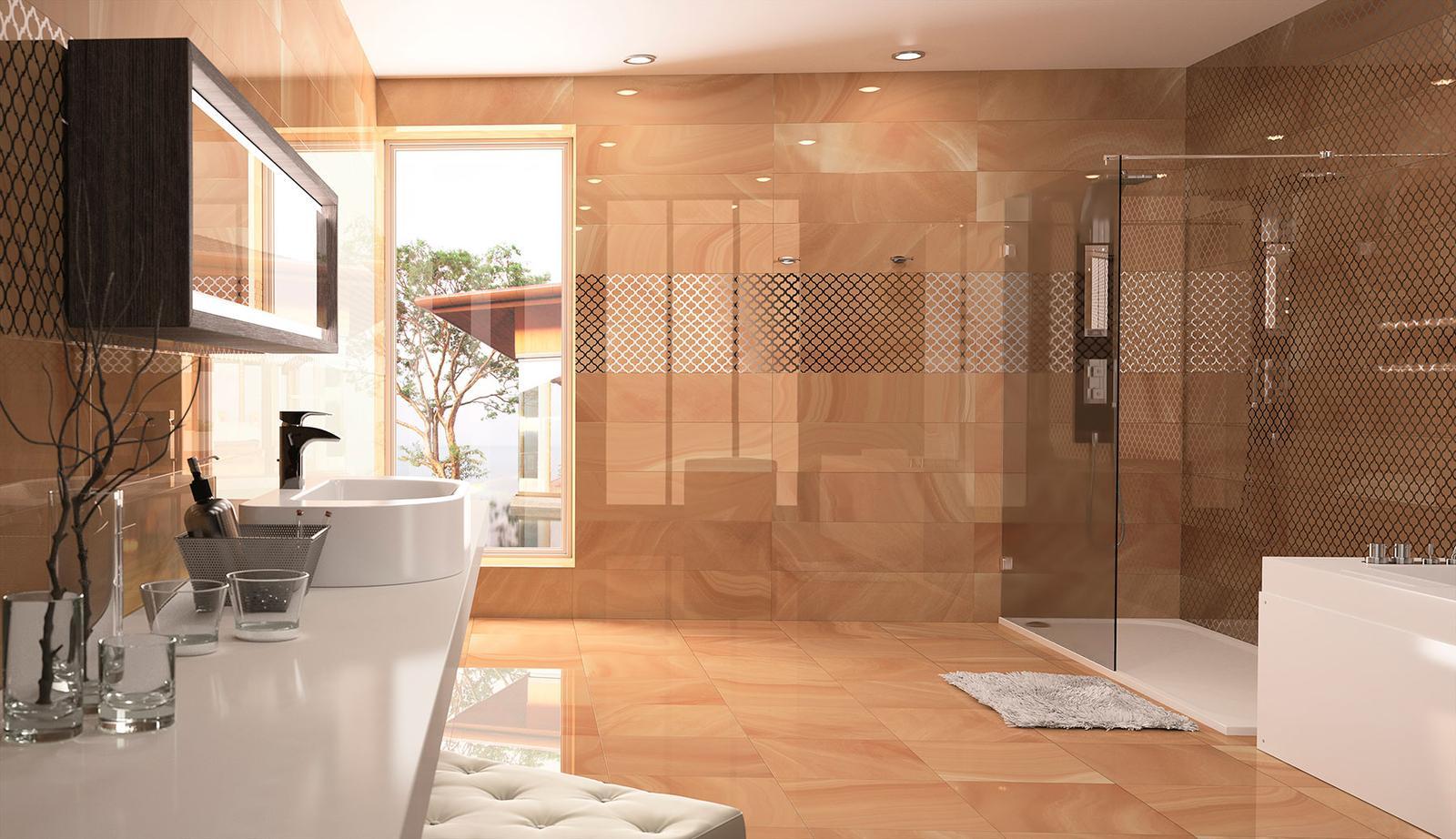 Luxusné kúpelne zo Španielska - luxusná lesklá kúpeľňa Absolute Ambar 25x73