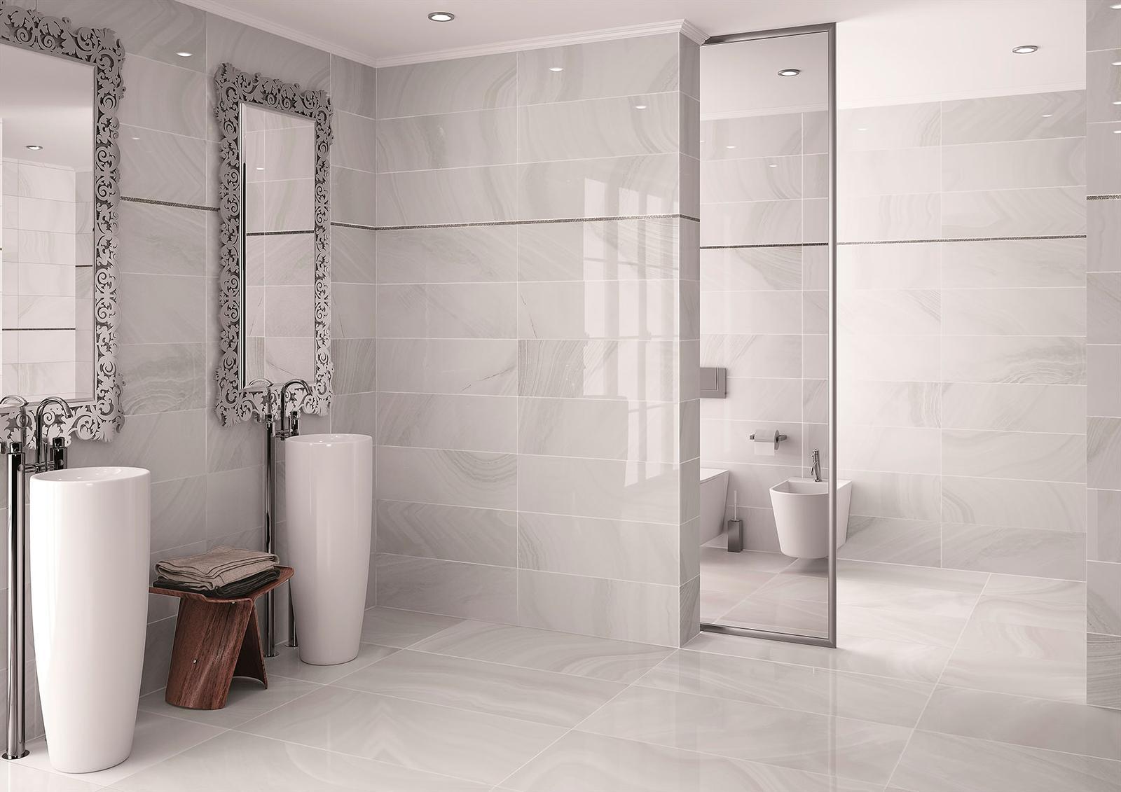 Luxusné kúpelne zo Španielska - luxusná lesklá kúpeľňa Absolute Ice 25x73