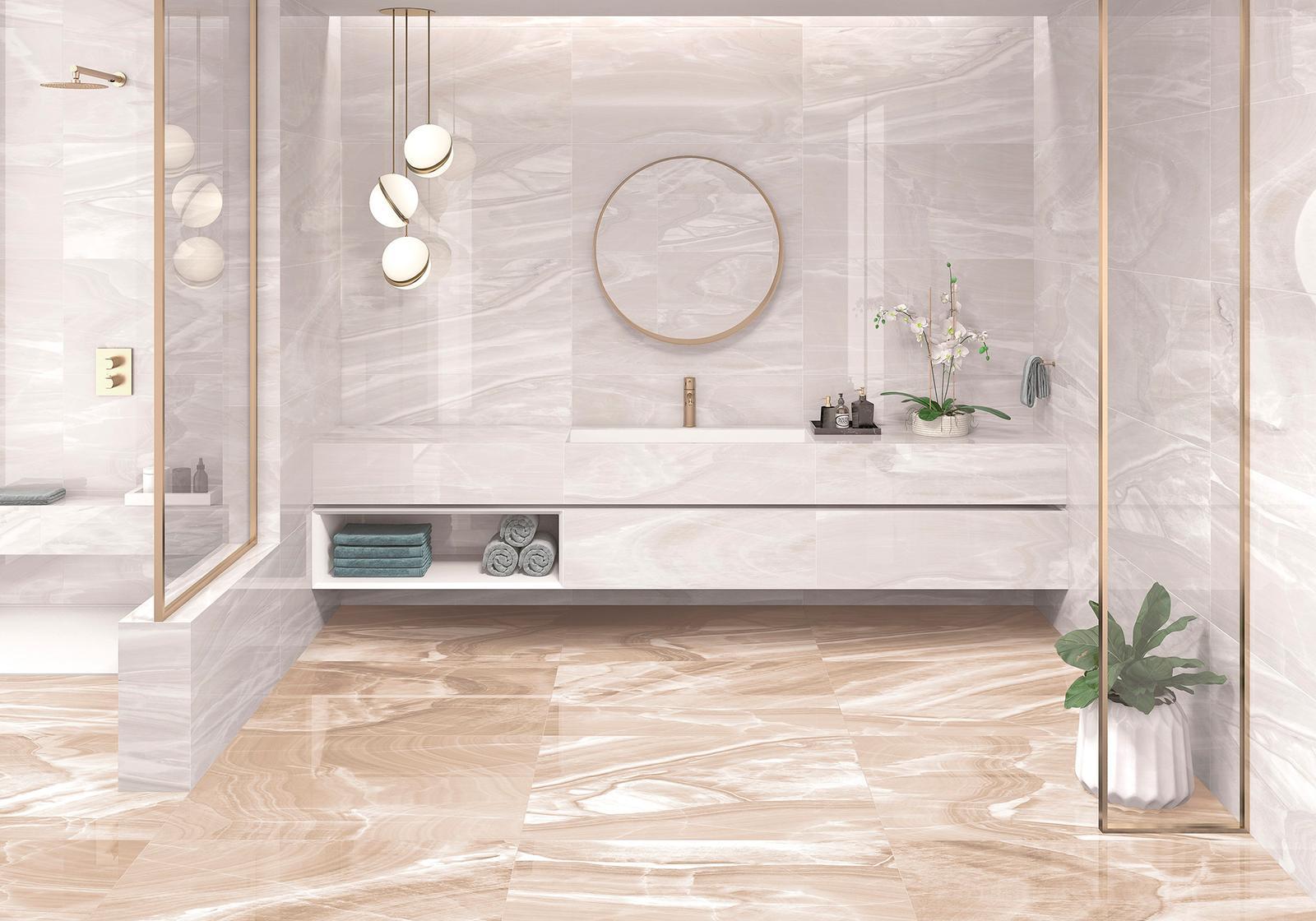 Luxusné kúpelne zo Španielska - luxusná lesklá kúpeľňa Arezzo Ice 49,1x98,2, Arezzo Sand 49,1x98,2