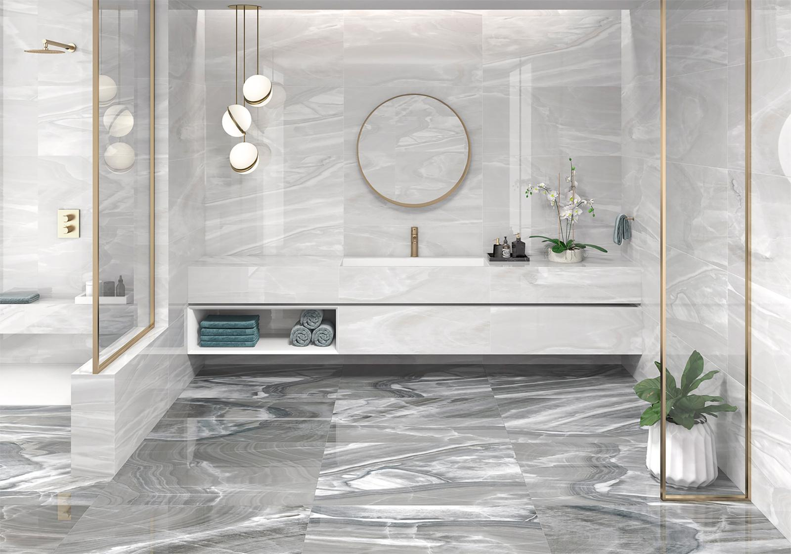 Luxusné kúpelne zo Španielska - moderná lesklá kúpeľňa Arezzo Ice 49,1x98,2, Arezzo Deep 49,1x98,2