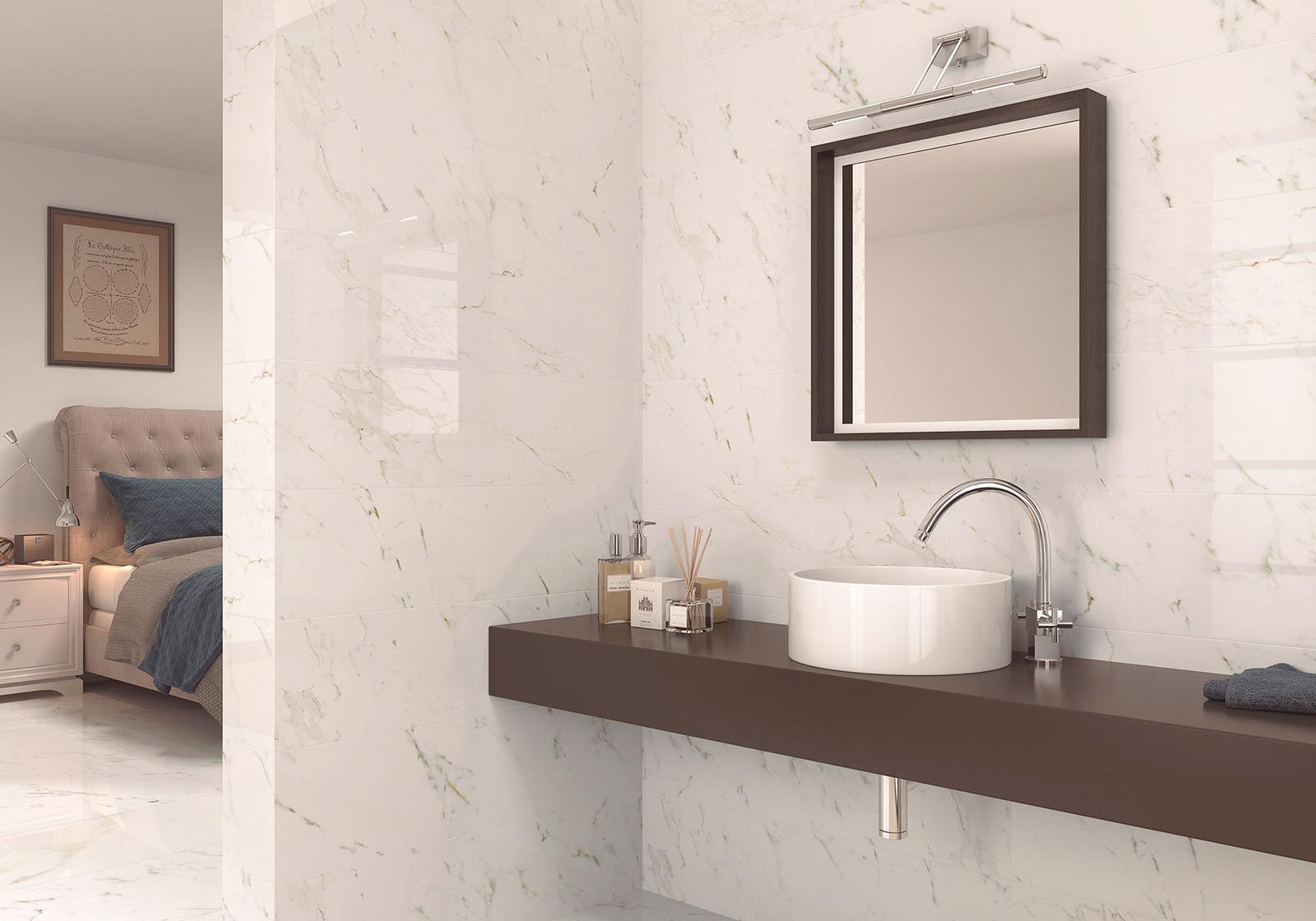 Luxusné kúpelne zo Španielska - luxusná lesklá kúpeľňa Calacatta pulido 49,1x98,2