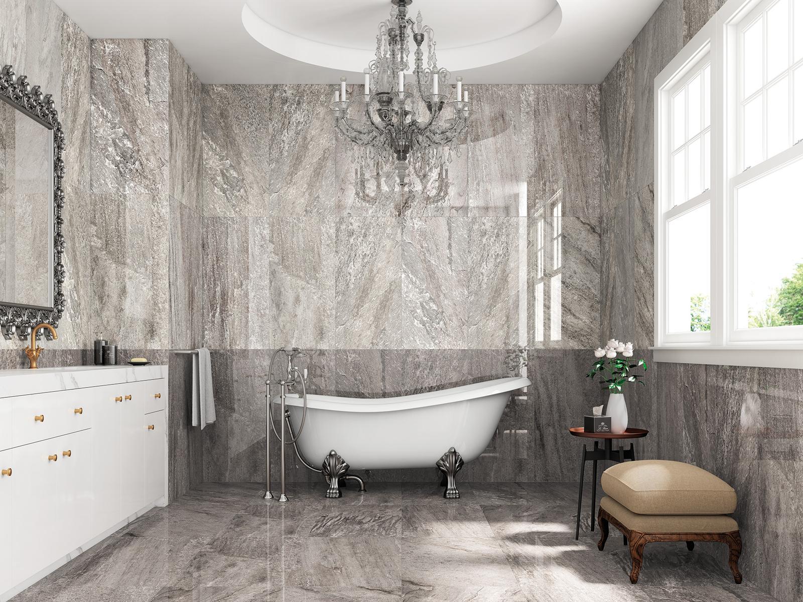 Luxusné kúpelne zo Španielska - luxusná lesklá kúpeľňa Dolmen Grey pulido 49,1x98,2