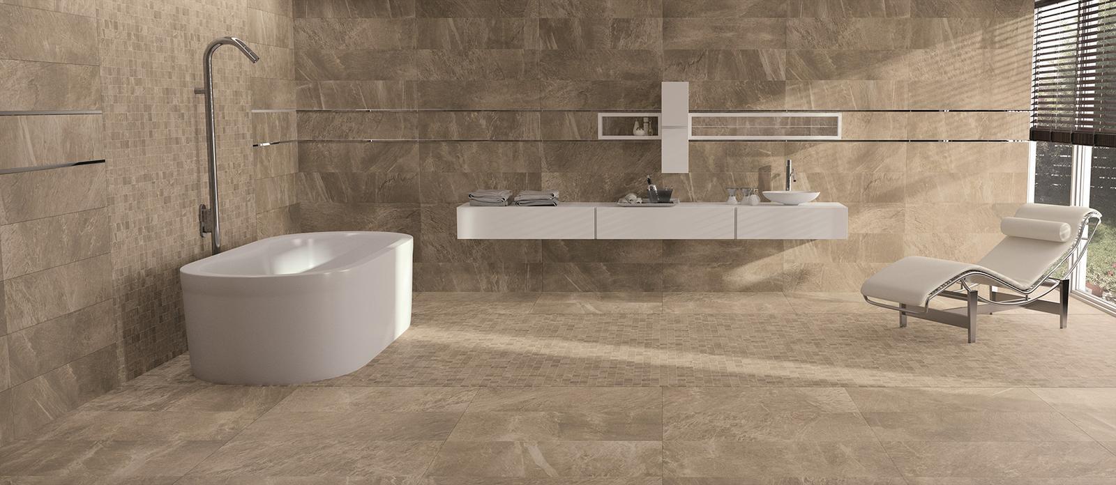Luxusné kúpelne zo Španielska - moderná kúpeľňa Filita Capuccino 24,5x98,2; 49,1x98,2
