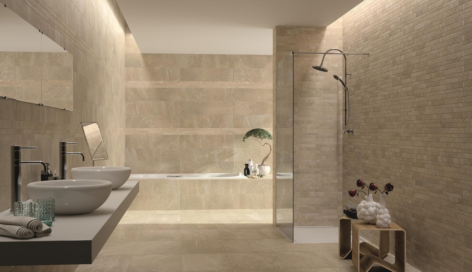 Luxusné kúpelne zo Španielska - moderná kúpeľňa Filita Gold 24,5x98,2; 49,1x49,1