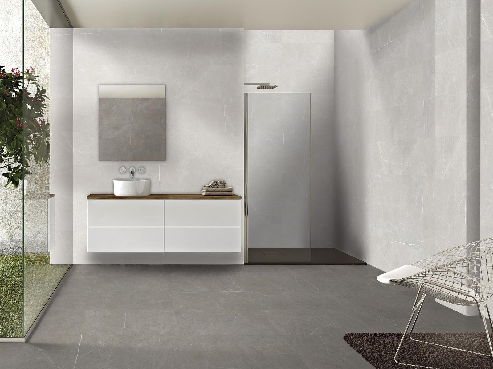 Luxusné kúpelne zo Španielska - moderná kúpeľňa Chester Grey 49,1x98,2, Chester Marfil 49,1x98,2