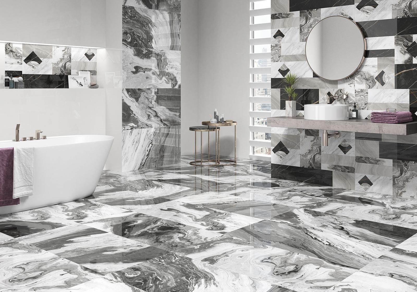 Luxusné kúpelne zo Španielska - dizajnová lesklá kúpeľňa Manhattan Gloss 49,1x98,2