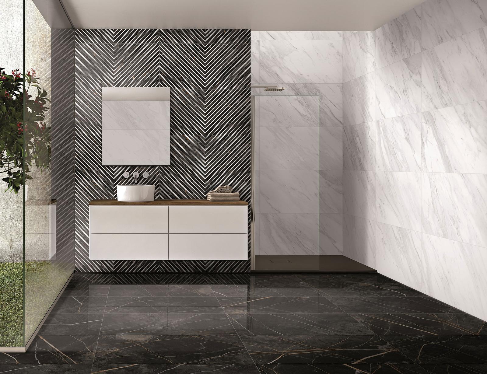 Luxusné kúpelne zo Španielska - dizajnová kúpeľňa North Gloss 49,1x98,2; Deco Nuit Gloss 49,1x98,2