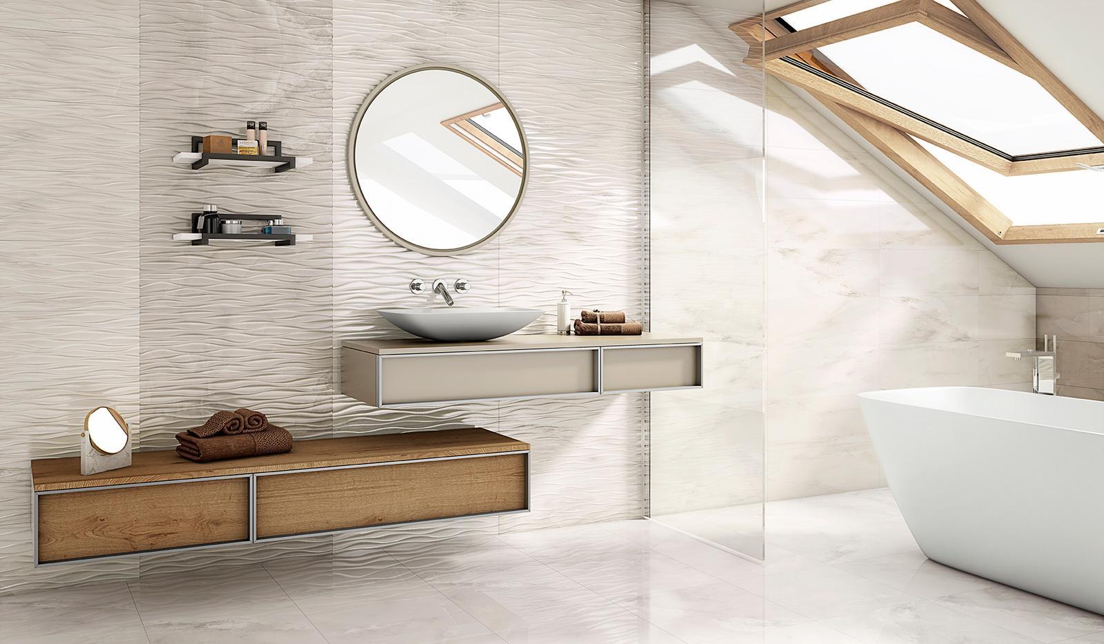 Luxusné kúpelne zo Španielska - luxusná lesklá kúpeľňa Olimpia Sand Ondas 25x73