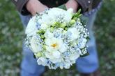 Svatební kytice - pryskyřník, frézie, nevěstin závoj, pomněnky