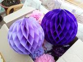 Fialové honeycomb koule 10 ks,