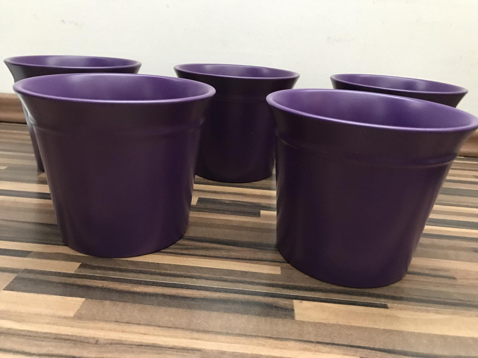 Keramické kvetináče - fialové - 15 ks - Obrázok č. 1