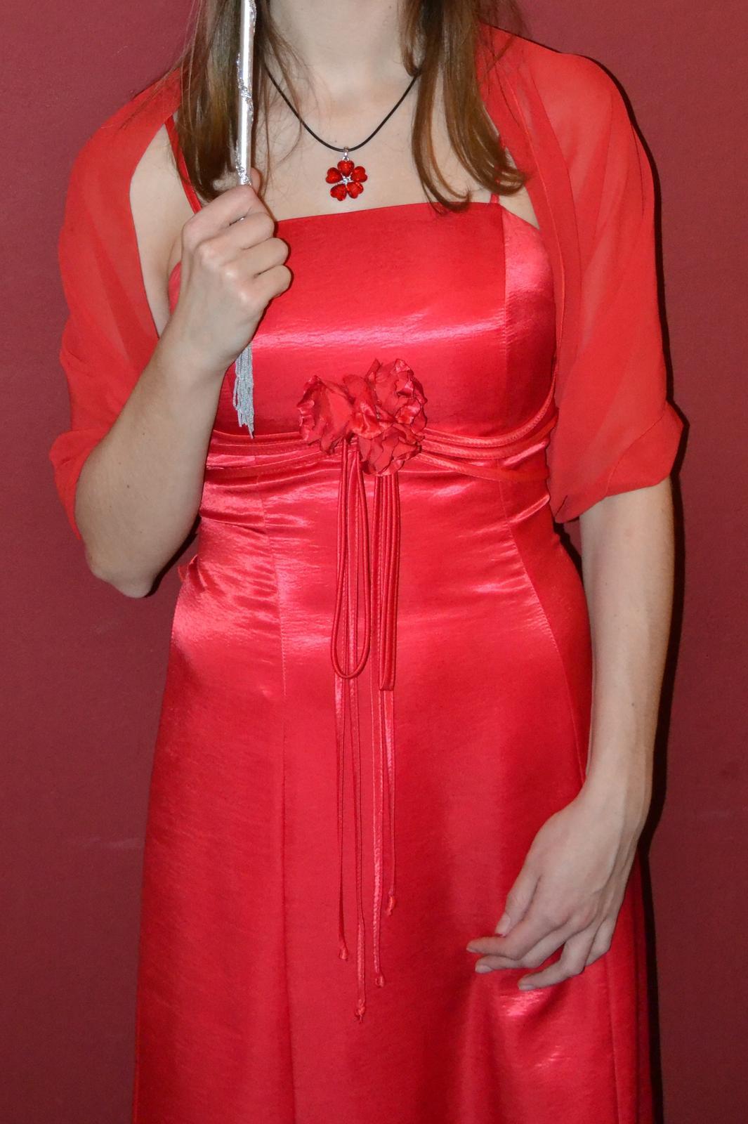 červené maxi šaty se šálem - Obrázek č. 1
