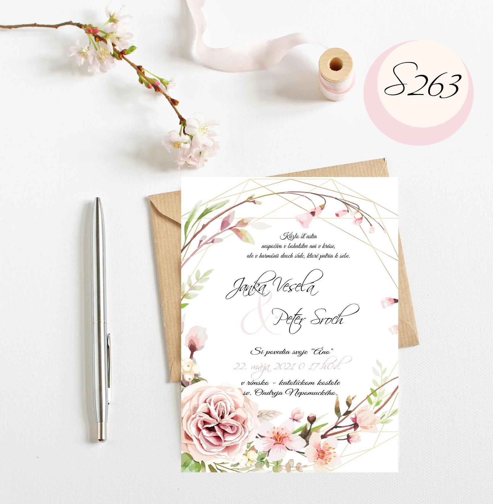 ružové svadobné oznámenia