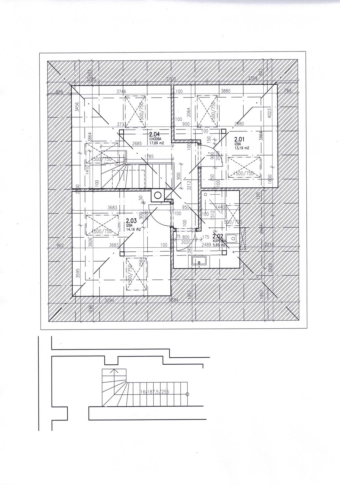 Dalsi level - zo stareho skoro nove - druhy navrh podkrovia - ale aj ten treba prerobit, architekt pozabudol, kde bude vytiahnuta stupacka