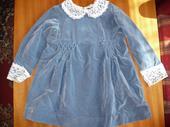 Modré zamatové šaty - 98 , 98