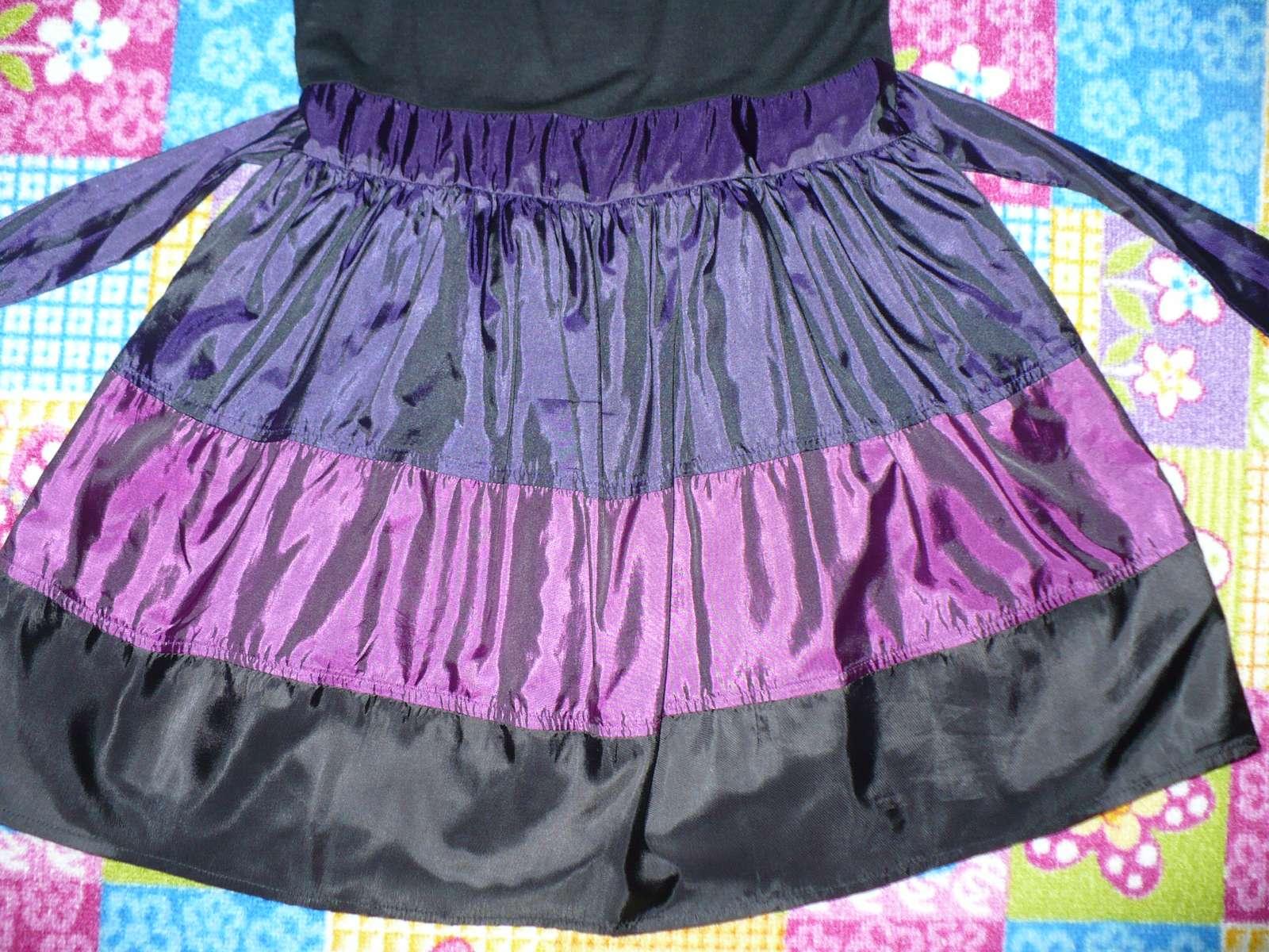 Fialovo čierne spoločenské šaty Y.d.  - Obrázok č. 3