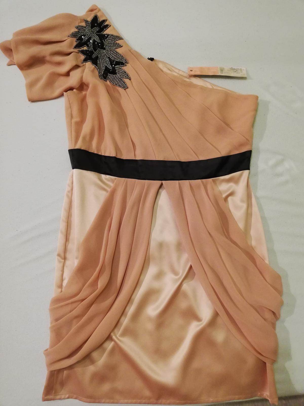 Pudrove šaty na jedno rameno  - Obrázok č. 1