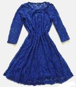 čipkované šaty v kráľovskej modrej, 38