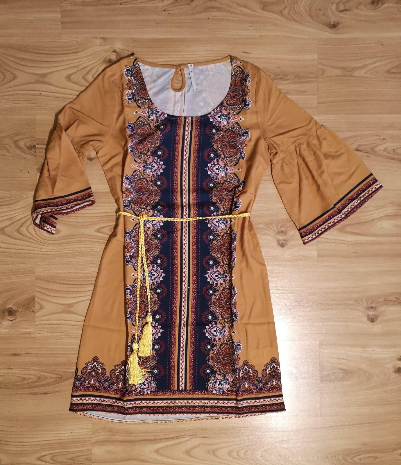 vzorované šaty s opaskom - Obrázok č. 1