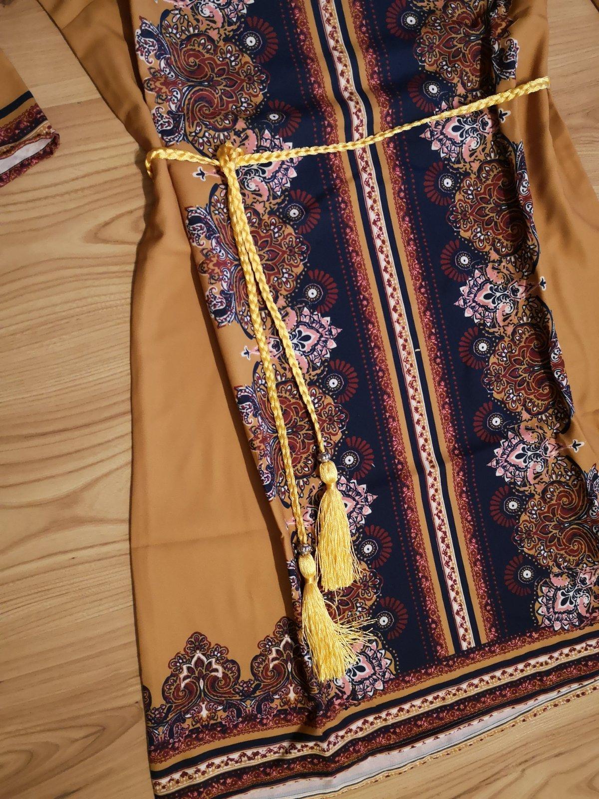 vzorované šaty s opaskom - Obrázok č. 2