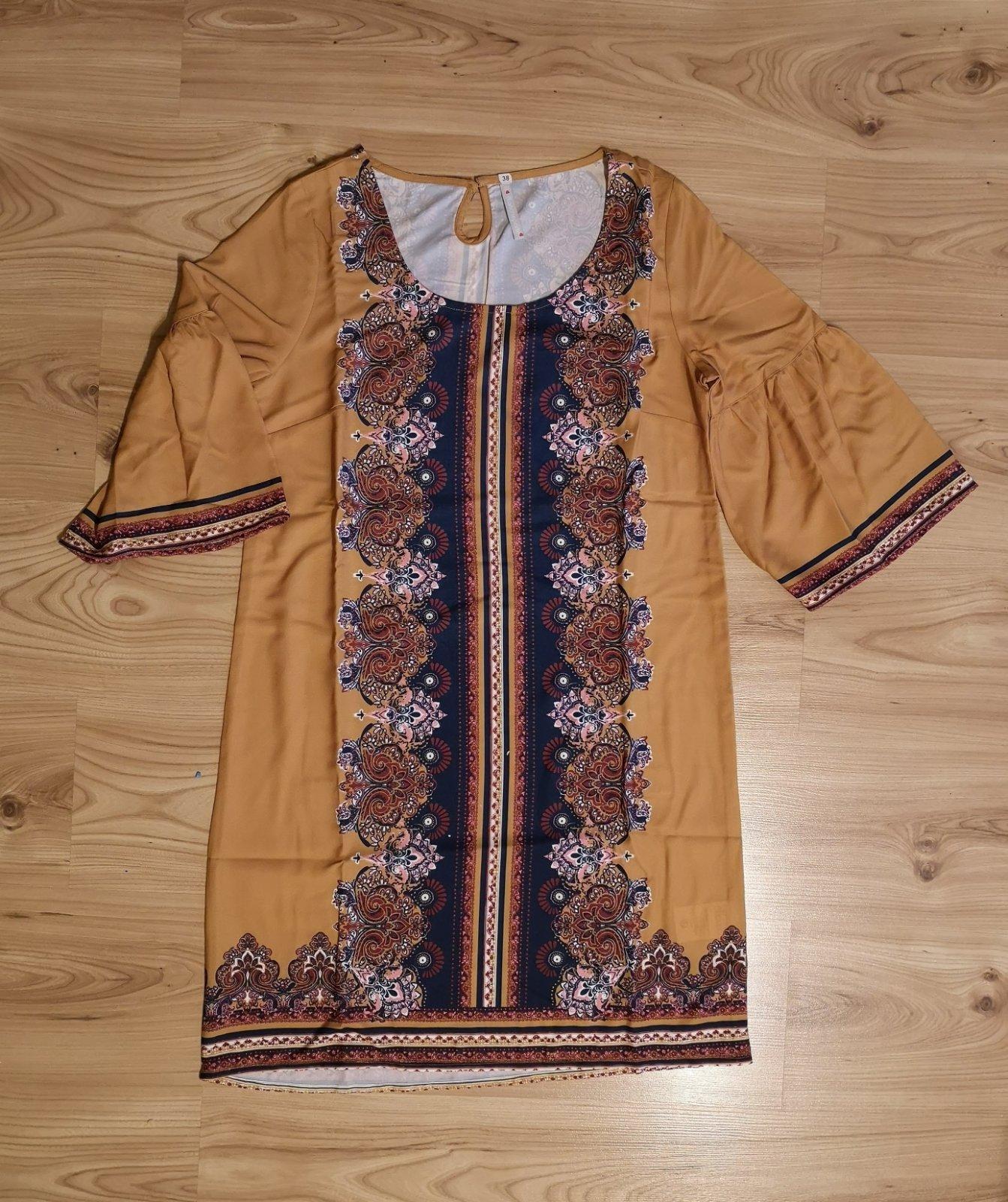 vzorované šaty s opaskom - Obrázok č. 3