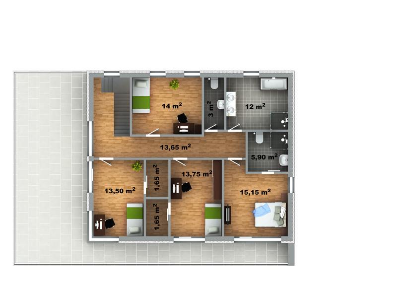 Můj dům snů - ale až v příštím životě :-D - zmenšila bych terasu a tím pádem zvětšila/přidala šatny u všech pokojíčků :-)