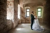 Svadobné šaty s kamienkovým opaskom 36-38 + závoj, 38