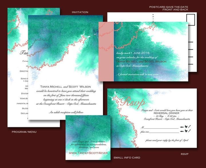 Aqua and coral palette - wedding - Obrázek č. 33