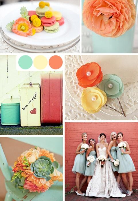 Aqua and coral palette - wedding - Obrázek č. 78