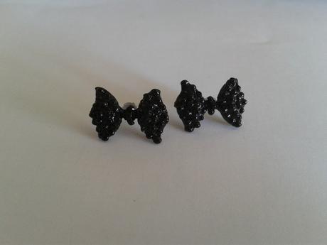 Náušnice černé mašličky - Obrázek č. 1