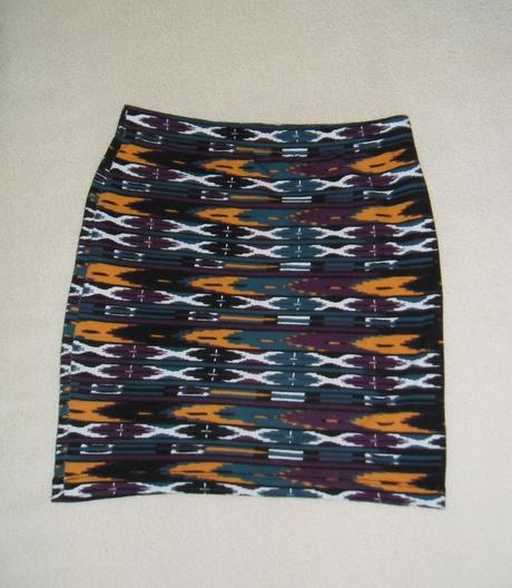 Černo oranžovo zeleno fialová sukně se vzorem  - Obrázek č. 1