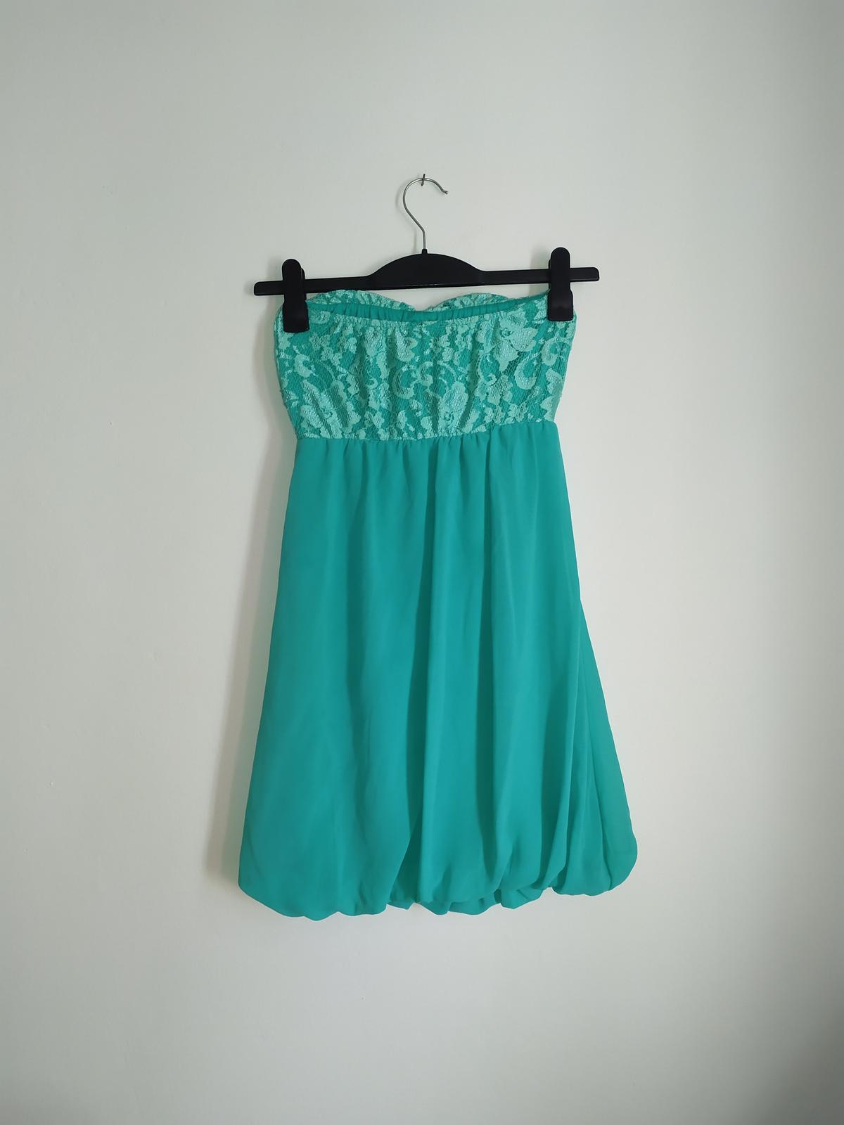 Tyrkysové šaty bez rukávů - vel. 36 - Obrázek č. 3