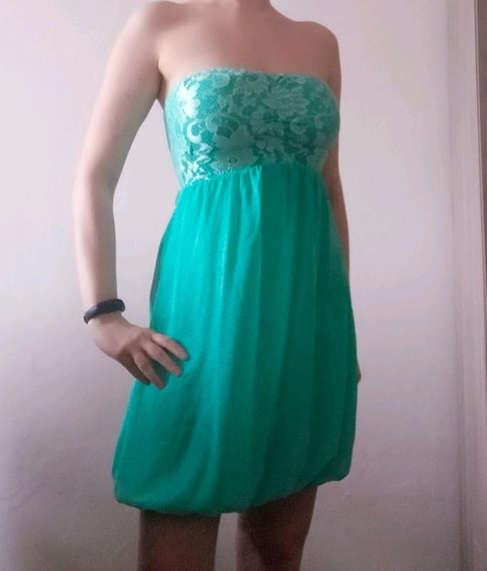 Tyrkysové šaty bez rukávů - vel. 36 - Obrázek č. 1