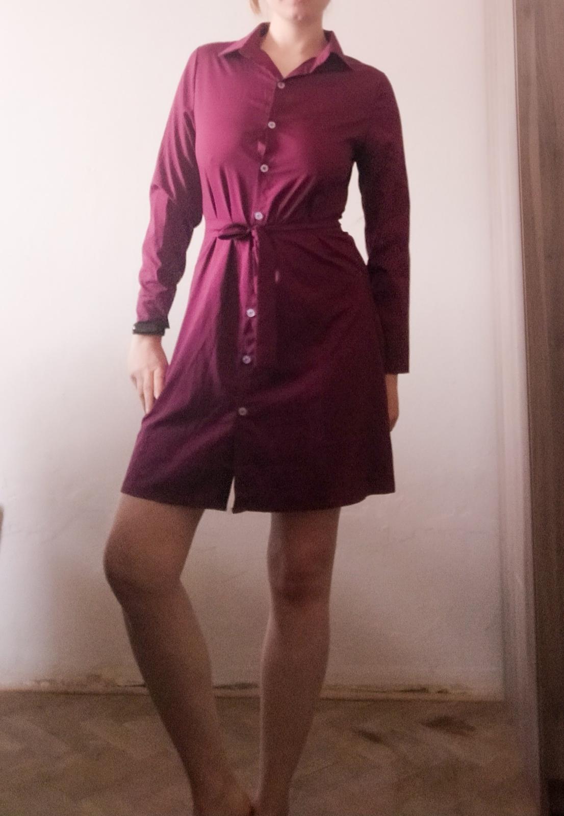 Košilové vínové šaty Erikafashion vel S. - Obrázek č. 4