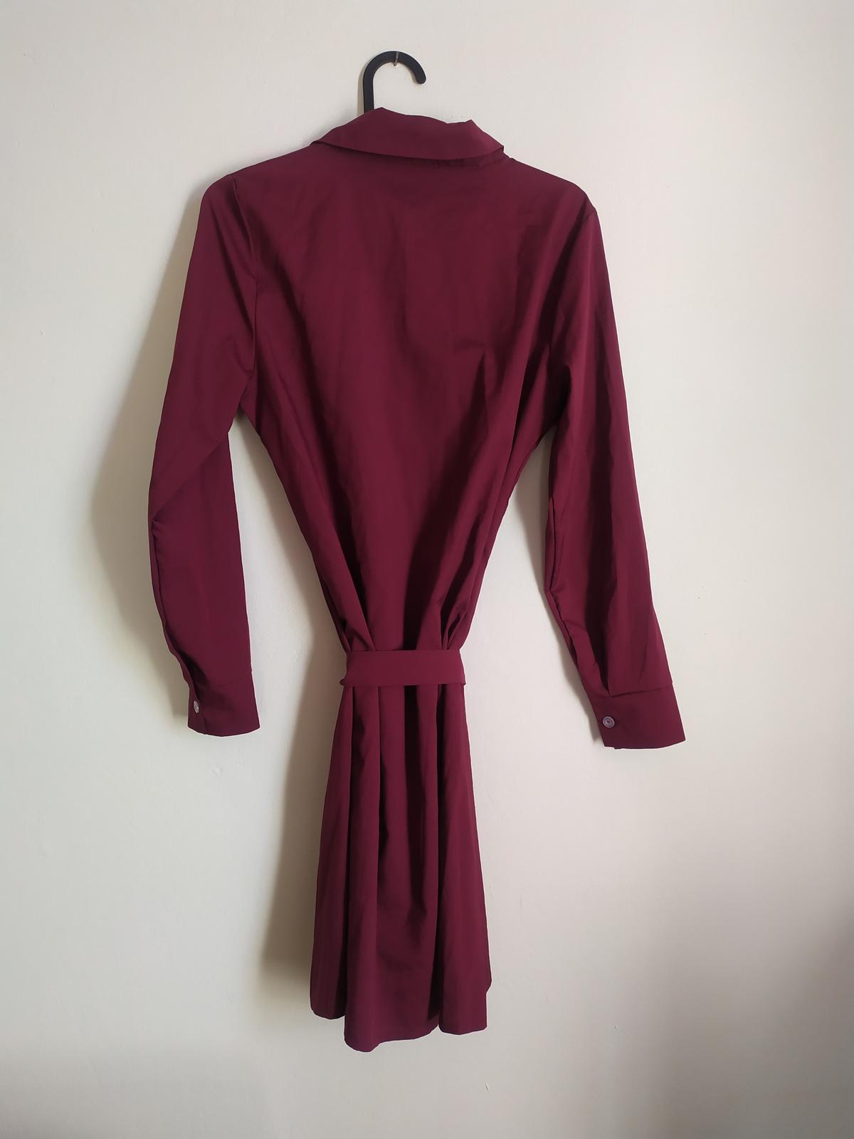 Košilové vínové šaty Erikafashion vel S. - Obrázek č. 3